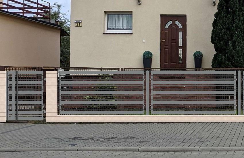 wizualizacja ogrodzenia betonowo-metalowego